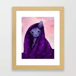 Snug Bug - Black Sphynx Cat Snugged in a Purple Heart Print Blanket Framed Art Print