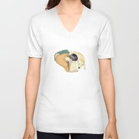 reading V-neck T-shirts featuring Reading by Anna Araslanova