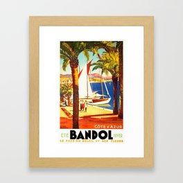 Vintage Bandol France Travel Poster Framed Art Print