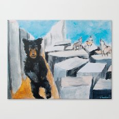 Berlin Bear with Howling Wolves Canvas Print