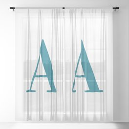 Teal Letter A Initial Monogram Sheer Curtain
