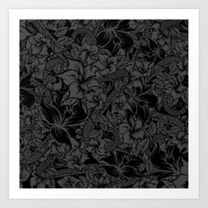 Snaky Fleur, Black and Grey Art Print