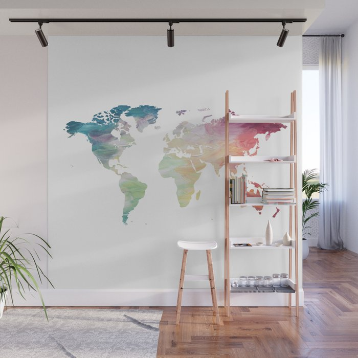 Painted World Map Wall Mural By Olaholahola Society6