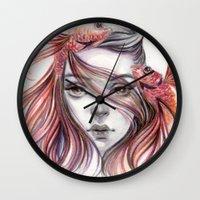 fight Wall Clocks featuring Fight by Koanne Ko