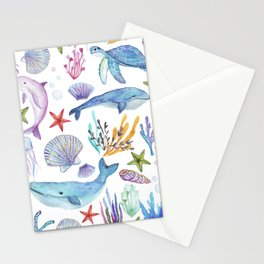 under the sea watercolor Stationery Cards