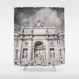 Trevi Fountain, black & white photography of Rome, fine art architecture, italian architectural love Shower Curtain