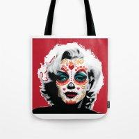 marylin monroe Tote Bags featuring Marylin de los Muertos 1 by jazzyjules63