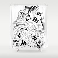 sneakers Shower Curtains featuring Sneakers Illustration by SoulWon Cheung