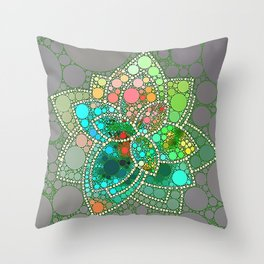 Bubble Green Abstract Flower Design Throw Pillow
