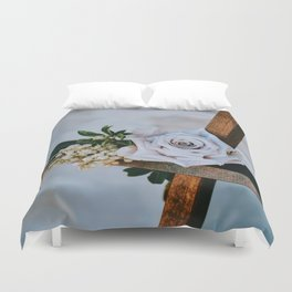 Rose on the Cross (Color) Duvet Cover