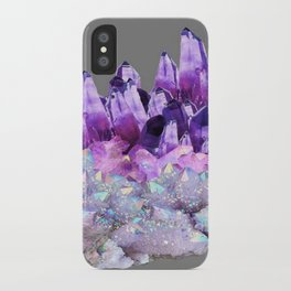 SPARKLY WHITE QUARTZ & PURPLE AMETHYST CRYSTAL iPhone Case