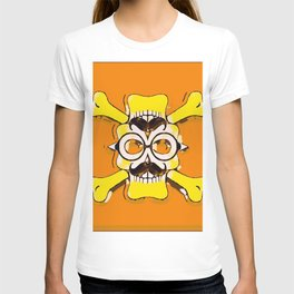 yellow old vintage skull and bone graffiti drawing with orange background T-shirt
