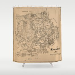 Map of Kendall County, Texas (1879) Shower Curtain