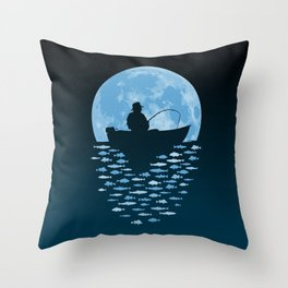 Hooked by Moonlight Throw Pillow