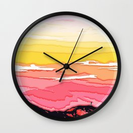 mountains sun Wall Clock