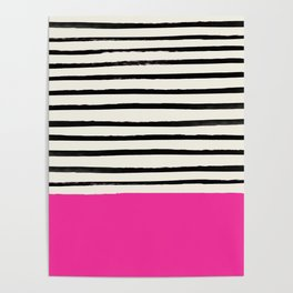 Bright Rose Pink x Stripes Poster