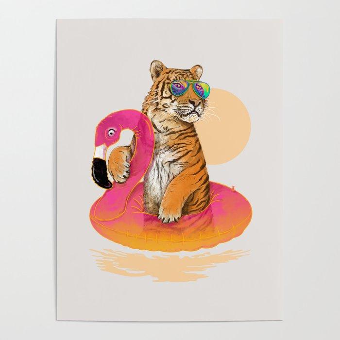 Chillin (Flamingo Tiger) Poster
