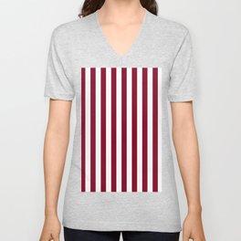Narrow Vertical Stripes - White and Burgundy Red Unisex V-Neck