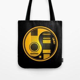 Yellow and Black Acoustic Electric Yin Yang Guitars Tote Bag