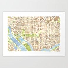 Washington DC watercolor city map Art Print
