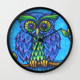 Owl in Blue Wall Clock