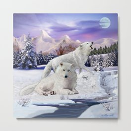 Snow Wolves of the Wilderness Metal Print