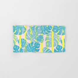 Linocut Monstera Neon Hand & Bath Towel