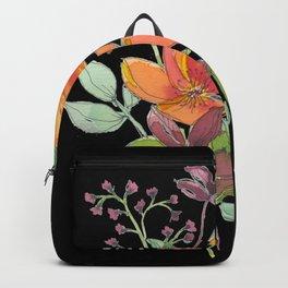Black orange & red flowers  Backpack