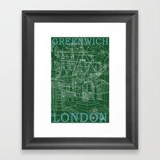Greenwich London (green) Framed Art Print