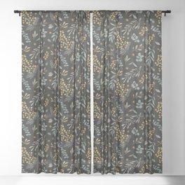 Australian native wattle eucalyptus watercolor floral black Sheer Curtain