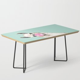 Bubble Gum Sneaky Llama in Green Coffee Table