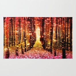 Magical Forest Sunset Pink Rug