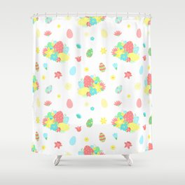 Colorful Easter Egg and Easter Flower Pattern Shower Curtain