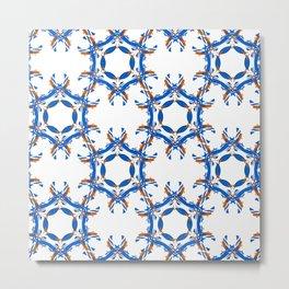 Orange Blue White Pattern Metal Print