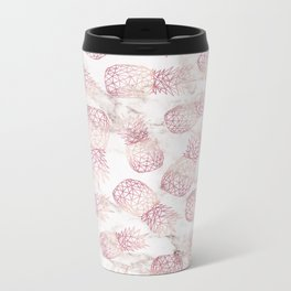 Geometric rose gold pineapples marble pattern Metal Travel Mug