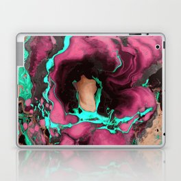 Purple cyan on black Marble texture Liquid paint art Laptop & iPad Skin