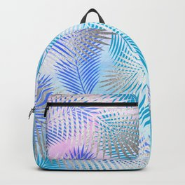 Watercolor and Silver Feathers on Watercolor Background Backpack