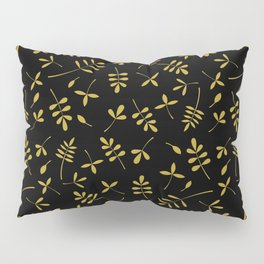 Gold Leaves Design on Black Pillow Sham
