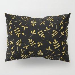 Gold Leaves Design on Black Pillow Sham