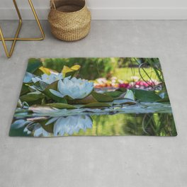 Water Water Lilies on Summer Pond Rug