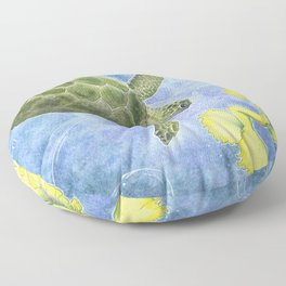 The Sea Turtle and Sea Nymph Floor Pillow