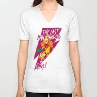 samus V-neck T-shirts featuring Samus by Luna Lanuit
