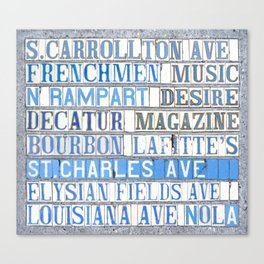 New Orleans Street Names Tile Art Word Typography Letters French Quarter Uptown Marigny Canvas Print