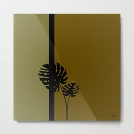 """Minimal retro tiki monstera"" Metal Print"