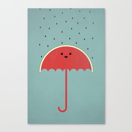 Watermelon Umbrella Canvas Print