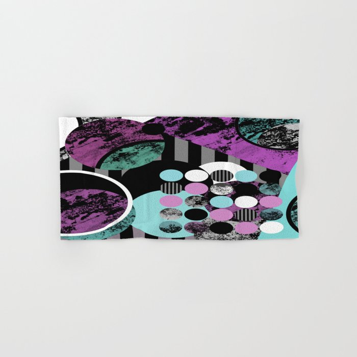 Bits N Pieces II - Abstract, geometric, textured, stripes, cyan, blue, pink, black, artwork Hand & Bath Towel