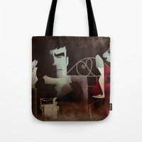 noir Tote Bags featuring noir by michael lombardi