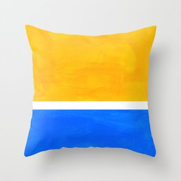 Primary Yellow Cerulean Blue Mid Century Modern Abstract Minimalist Rothko Color Field Squares Throw Pillow