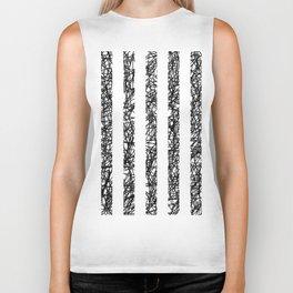 Scribble Bars - Abstract, stripy, stripey, black ink scribbles pattern, black and white Biker Tank