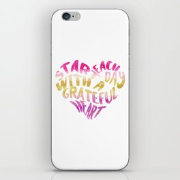 Start each day with a grateful heart Purple - Yellow watercolor Modern typography, Heart shaped art iPhone Skin